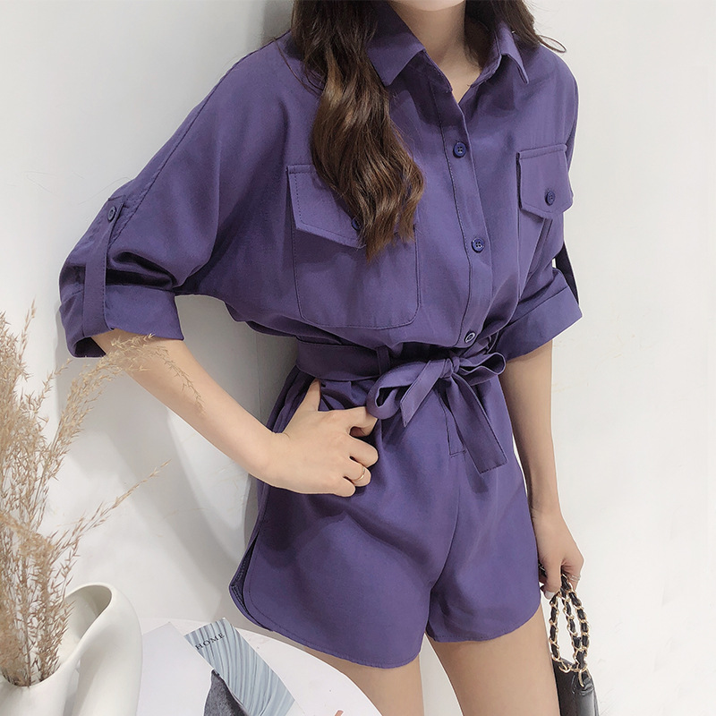 Summer jumpsuit women rompers Sexy bodysuit playsuit Half Sleeve catsuit Cotton Playsuit Ladies Jumpsuit Elastic Belt Waist