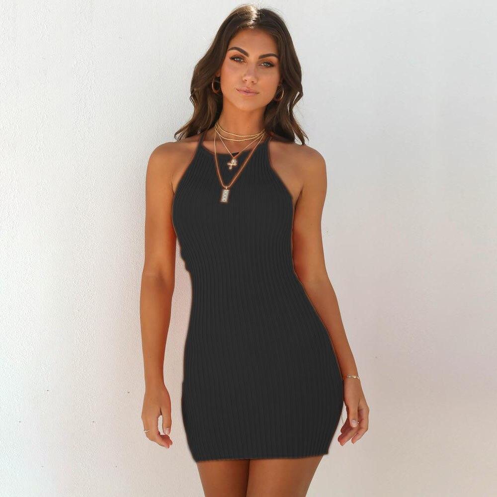 Women Sexy Club Backless Spaghetti Strap Summer Dress 2018 Cotton Ladies Elastic Bodycon Black Yellow Party Mini Dresses Vestido 5