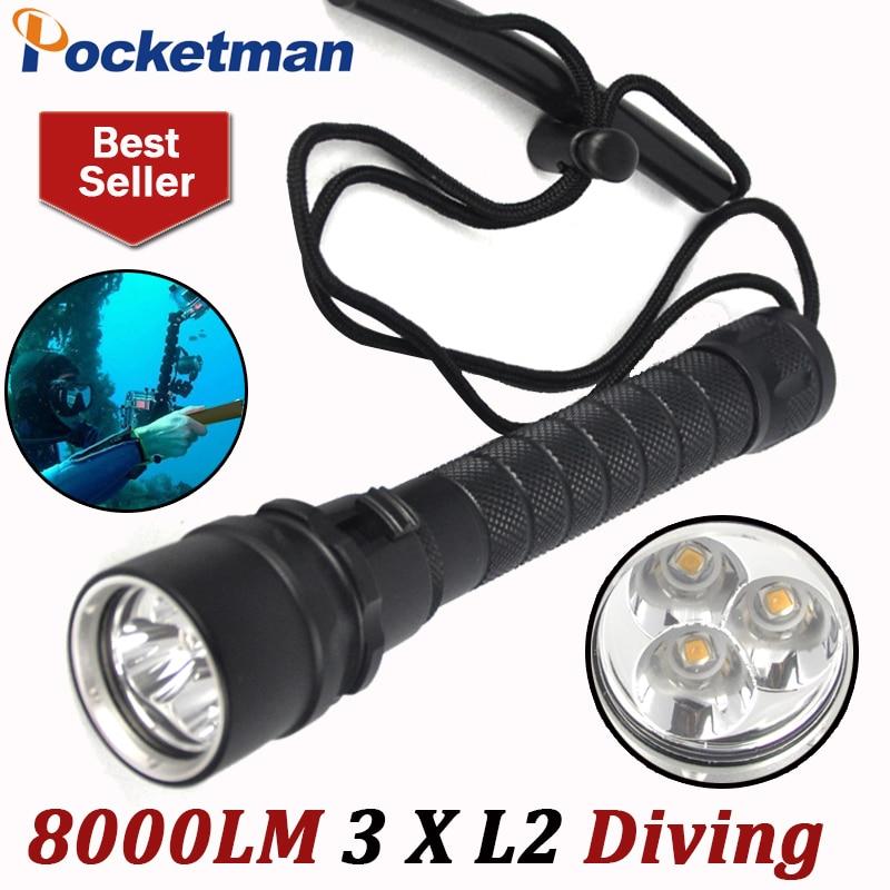 8000LM LED Scuba Diving Flashlight 3x XM-L L2 Diver Lamp Torch 200M Underwater Waterproof LED Flash Light Lantern Torche Lampe<br>
