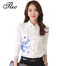 TLZC New Style Lady White Shirts Formal Work Blouse Size S-3XL Korean Women Printed Shirts Chiffon Blouse Slim Fit Lady Shirts(China)