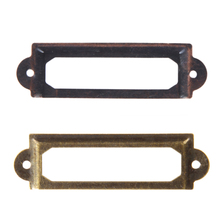 48Pcs Antique Brass Metal Label Pull Frame Handle File Name Card Holder For Furniture Cabinet Drawer Box Case Bin