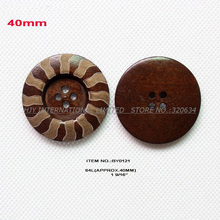 (40pcs/lot) 40MM 4 holes large wooden button bulk supplies overcoat crafts sewing button -BY0121(China)