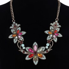 Vintage AAA Austrian Crystal Flower Pendant Necklaces Big Stone Luxury Chunky Statement Choker Necklace Bijoux for Girls Women(China)