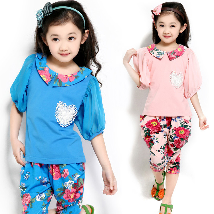 Free shipping children clothing summer/sprign girl  vintage print twinset ploughboys set short-sleeve T-shirt+pants suit<br>