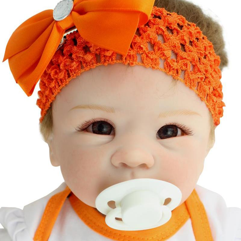 UCanaan 50-55cm Handmade Silicone Reborn Baby Doll lifelike Soft Body Toys Orange Dress Outfit Baby Toy Best Gift to Girl DIY<br><br>Aliexpress