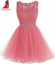 Many Colors Short Prom Dresses 2017 Cheap Plus Size Appliques Beads Ball Gown Party Homecoming Dress For Girls Vestidos De Festa(China)