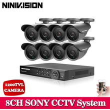 NINIVISION 8CH HDMI 1080P 8 Channel 1080N AHD CCTV DVR SONY 1200TVL Video Surveillance Security System 8 bullet outdoor Camera(China)