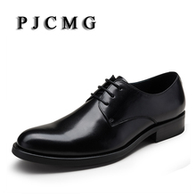 PJCMG Fashion Red/Black Oxfords Mens Business Lace-Up Genuine Leather Pointed Toe Office Dress Formal Mens Wedding Shoes(China)