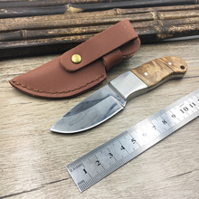 shadow Wooden handle small Camping knife Portable Survival Hunting knives with leather sheath knives fixed blade EDC knife