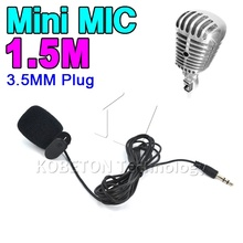 Mini 3.5mm External Microphone Clip On Mic + Adapter Cable 1.5M Length Cable Accessories Kit Tie Lapel 100-20000Hz for Laptop PC