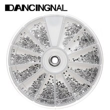 Hot 1800-2400pcs/Wheel Mini Nail Art Crystal Gems Decal Rhinestones Silver Clear Round Decoration Diamante Manicure Tools