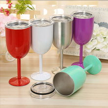 Stainless Steel Goblet Red Wine Cup Car Auto Cup Double Layer Cocktail Durable Glass Goblet Lid Drinking Ware Glass Car Cup