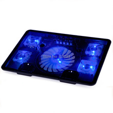 "Notebook cooling pad Blue LED Laptop Cooler 5 Fans 2 USB Port Stand Pad for Laptop 10-17"" PC usb cooler for notebook +USB Cord(China)"