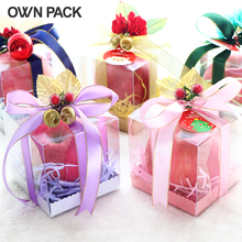 10 pcs/lot  10*10*10cm christmas gift pvc clear box (1 lot=10 boxes +10 pedestals+10 ribbons+grass+accessories)