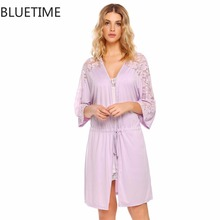 Autumn 1/2 Sleeve Women Sleepwear Nightgown Open Front Lace Patchwork Loose Nightshirt Home Sleep Night Dress Gown With Belt