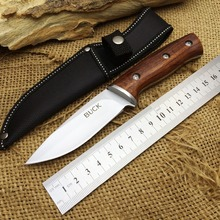 Buck Hunting Fixed Knife 440 Blade Steel+Wood Handle Camping Tactical Knife Utility Survival Tool With Top Quality Nylon Sheath
