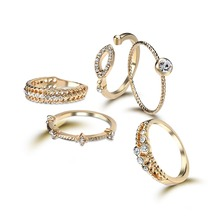 Zircon ring five piece set rings for women Fashion High quality new jewelry Dress up your beaut Alloy 5 rings the same style(China)