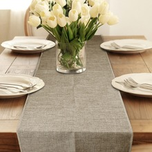Table Runner Burlap Natural Jute Imitated Linen Rustic Decor Wedding Table Decoration Accessories Khaki Gray Party Tablecloth(China)