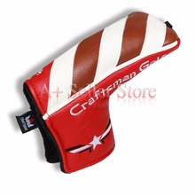 *Craftsman Golf* New Red&Brown&White Leather Blade Putter Covers Hand Crafted Golf Headcover with magnet