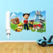 3D Dogs Cartoon Wall Sticker Paws Patrols Stickers Wall Decals Room Decoration Animal Mural Creative DIY For Kids Rooms Decor