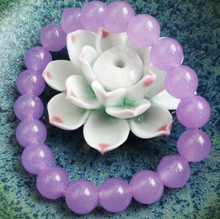 free shipping ~$wholesale_jewelry_wig$ 10mm Natural Lavender Purple  Round Beads Stretchy Bangle Bracelet