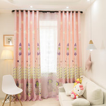 [byetee] Pink Princess Window Curtain for Kids Bedroom Children Finished Blackout Curtains Tulle Sheer Printed Bay Drapes(China)