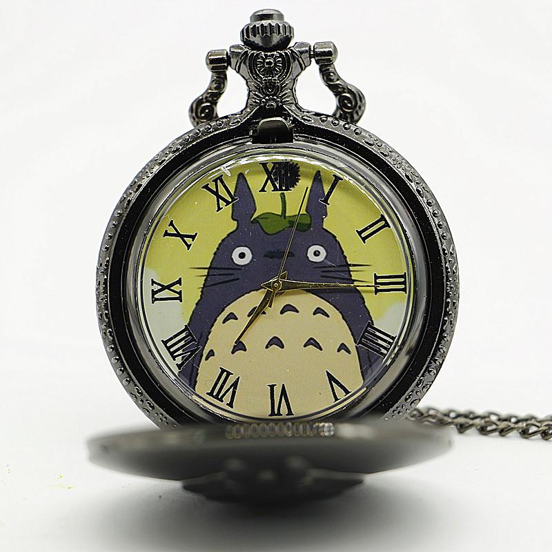 New-Antique-Black-Japanese-Anime-Totoro-Quartz-Pocket-Watch-Necklace-Pendant-Christmas-Gift-Clock (1)