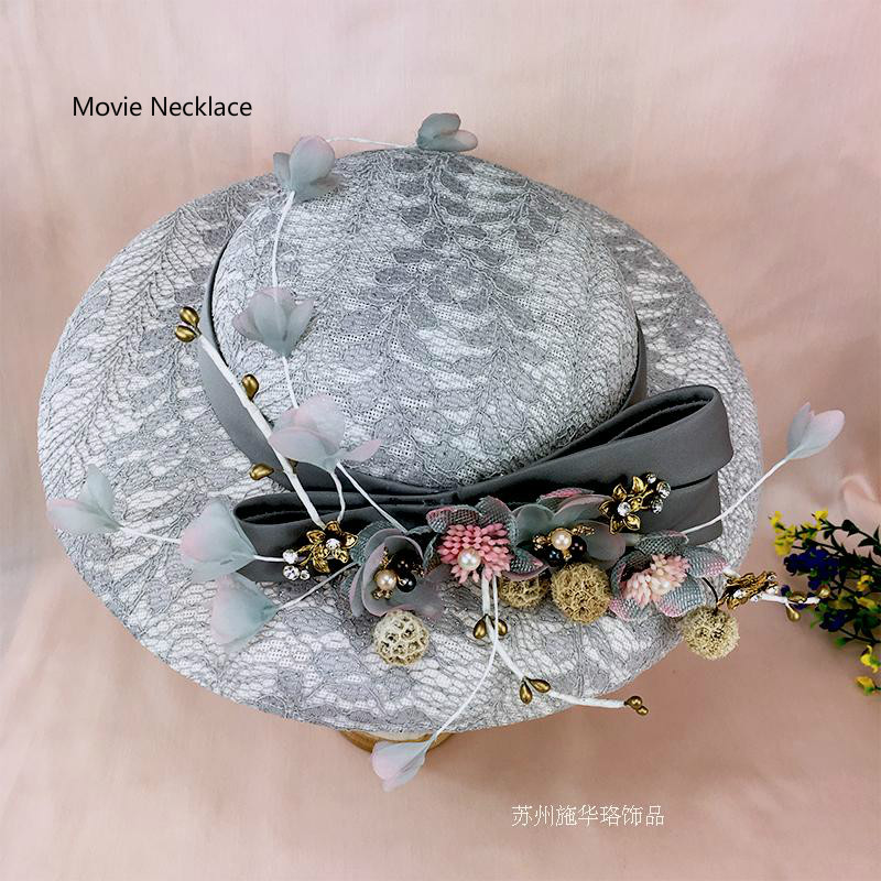 2017 Korean VIntage Wedding Hat Silk Felt Flower Rhinestone Fascinator Linen Hat Headwear Photo Shooting Party Women Headdress<br><br>Aliexpress