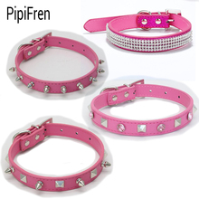 PipiFren Rose red Small Dog Collars Cat Rhinestone For Puppy Collar Pet Supplies Necklace hundehalsband kedi tasma collare cane(China)