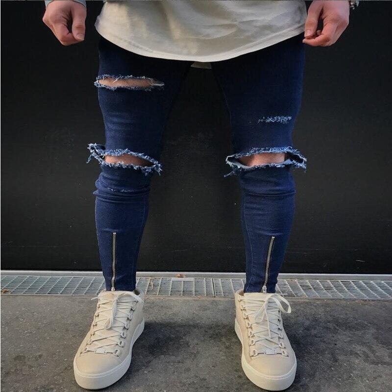2017 NEW high quality fashion casual men jeans Big hole in knee pants thigh and ankle zipper hip hop pants black jeans 28-36Îäåæäà è àêñåññóàðû<br><br>
