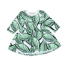 Newborn Kids Baby Girls clothes leaf print long sleeve round neck cotton Toddler casual Princess Party Mini Dresses one pieces(China)