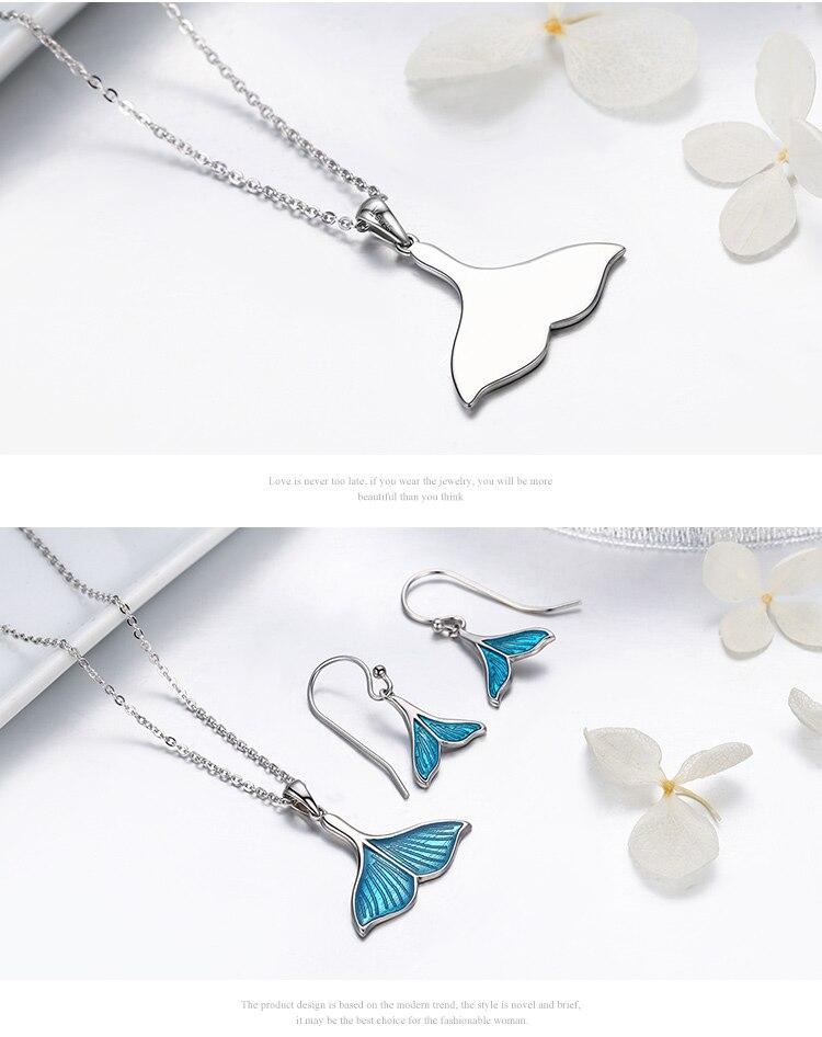 925 Sterling Silver Ocean Blue Enamel Mermaid Tail Pendant Necklace