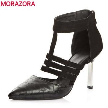 Morazora 2017 nova mulher marca de moda sapatos dedo apontado sapatos de salto alto (9 cm) mulheres bombas Leopardo saltos finos sapatos de casamento festa de mulher