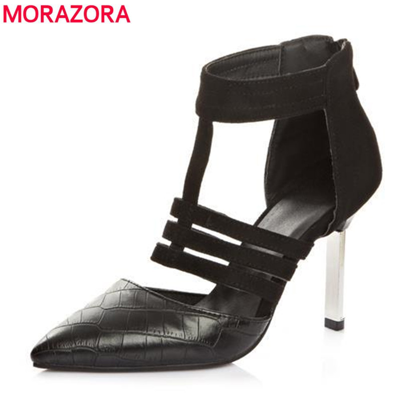 MORAZORA 2017 new brand fashion woman shoes pointed toe high heels (9cm)women pumps Leopard thin heels party wedding shoes woman<br>