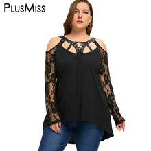 Buy PlusMiss Plus Size 5XL Halloween Cold Shoulder Lace Tops Women Clothing Sexy Lace Crochet Sheer Mesh Blouse Shirt Big Size for $13.84 in AliExpress store
