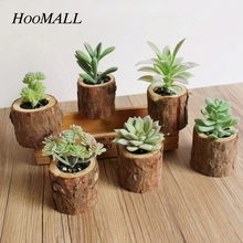 Hoomall Simulation Stump Pots Artificial Plants Succulents Plastic Artificial Flowers With Pots DIY Easter Garden Decoration(China)