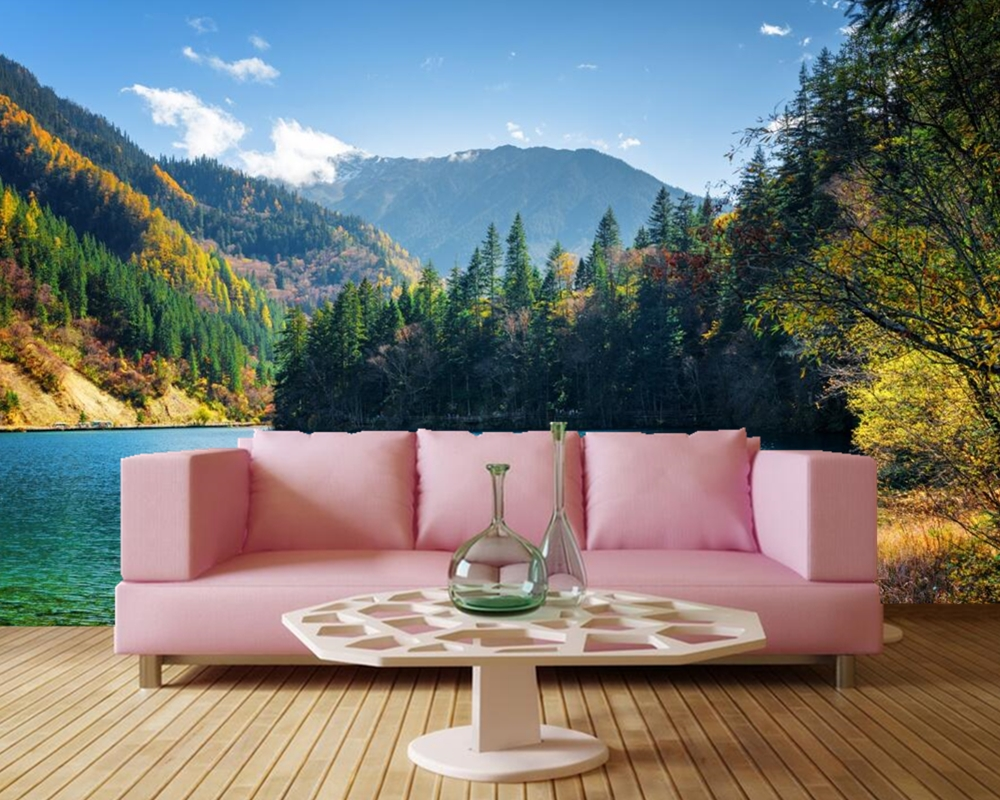 Lake Mountains Forests Scenery Nature 3d Landscape wallpaper,living room TV sofa wall bedroom restaurant mural papel de parede<br>