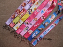 Hot Sale! 10 pcs Popular Princess  Key Chains Mobile Cell Phone Lanyard Neck Straps Children   Favors P-54