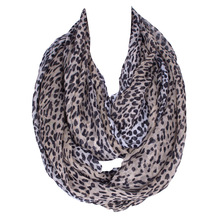 2017 Fashion Cut Marks Coffee Gray Leopard  Women Scarf  Lady Summer Scarfs For Loop Shawl Polyester Voile Scarves Size180*80cm