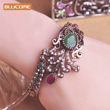 Blucome Large Size Vintage Flower Bangle Green Water Drop Resin Crystal Crown Shape Turkish Bangles Girl Women Party Hand Bijoux