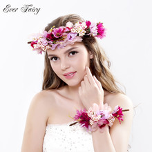 2pc/set Women Wedding Rose Flower Wreath headband and wrist Kids Party flower crown and Bracelet with Ribbon Adjustable garlands