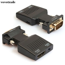 vovotrade 1pc 1080P VGA Male to HDMI Female Video Adapter W/ 3.5mm Audio / Mini USB for Laptop Ultrabook Desktop Projector(China)