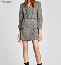 WISHBOP NEW 2017 FALL Fashion Checked dress-style BLAZER Lapel collar with belt Long puffy sleeves flap pockets double-breasted(China)