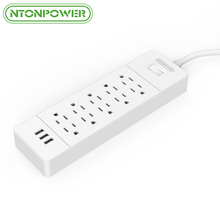 NTONPOWER USP Fireproof USB Power Strip US Plug 10 Outlet 3 Port USB Charger Current Protection Surge Protector, 1.5M Power Cord