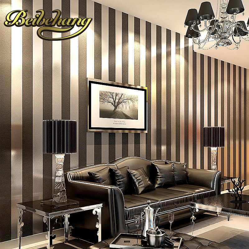 beibehang papel de parede non-woven wallpaper plain solid color striped living room bedroom den vertical stripes wallpaper <br>