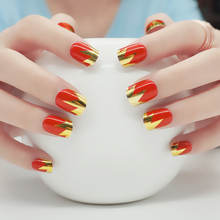 Hot Red Sexy Mirror UV Gel French False Nails Metallic Golden 24pcs/set Design Nep Nagels Christmas Nail Art Tips Beauty Tools