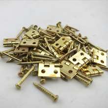 20sets/lot, Mini Cabinet Drawer Butt Hinge copper brass gold small hinge 4 small hole 8*10 copper hinge With screws(China)