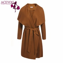 ACEVOG Women's Woolen Coat Vintage Fashion Wrap Open Front Long Sleeve Trench Jacket Solid Outerwear Windbreaker With Belt(China)