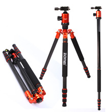 DHL Free shipping ZOMEi carbon fiber Portable Professional tripod & monopod Z888C With Ball Head for DSLR Camera Orange Color