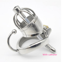 Buy New Chastity belt device men stainless steel metal penis lock chastity urethral catheter penis ring chastity belt male sex BDSM.